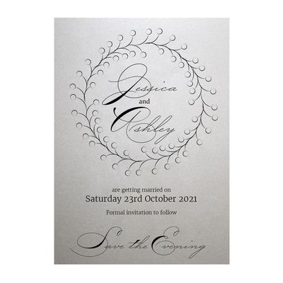Shimmer Arctic White Rustic Floral Save the Evening Cards
