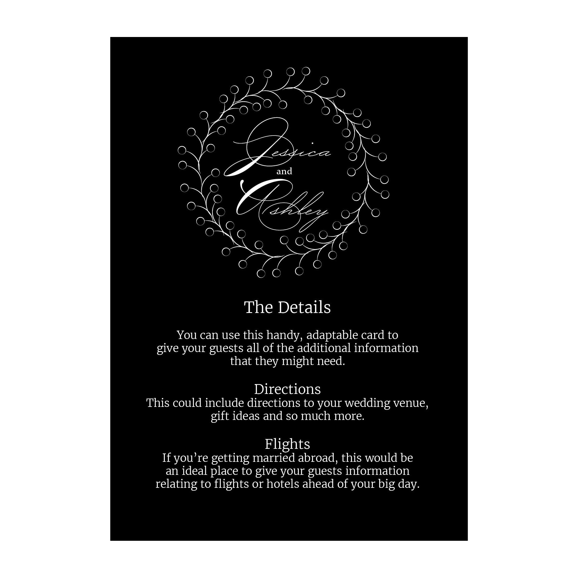 Black with White Ink Rustic Floral Guest Information Cards