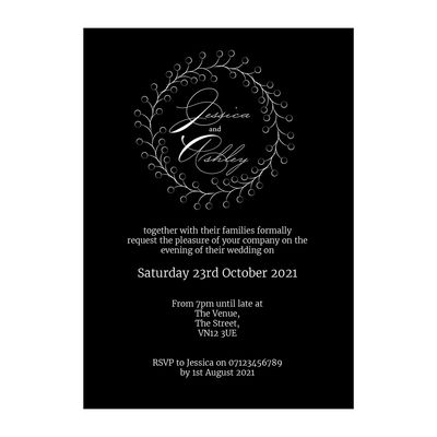 Black with White Ink Rustic Floral Reception Invitations