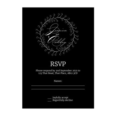 Black with White Ink Rustic Floral RSVP Cards