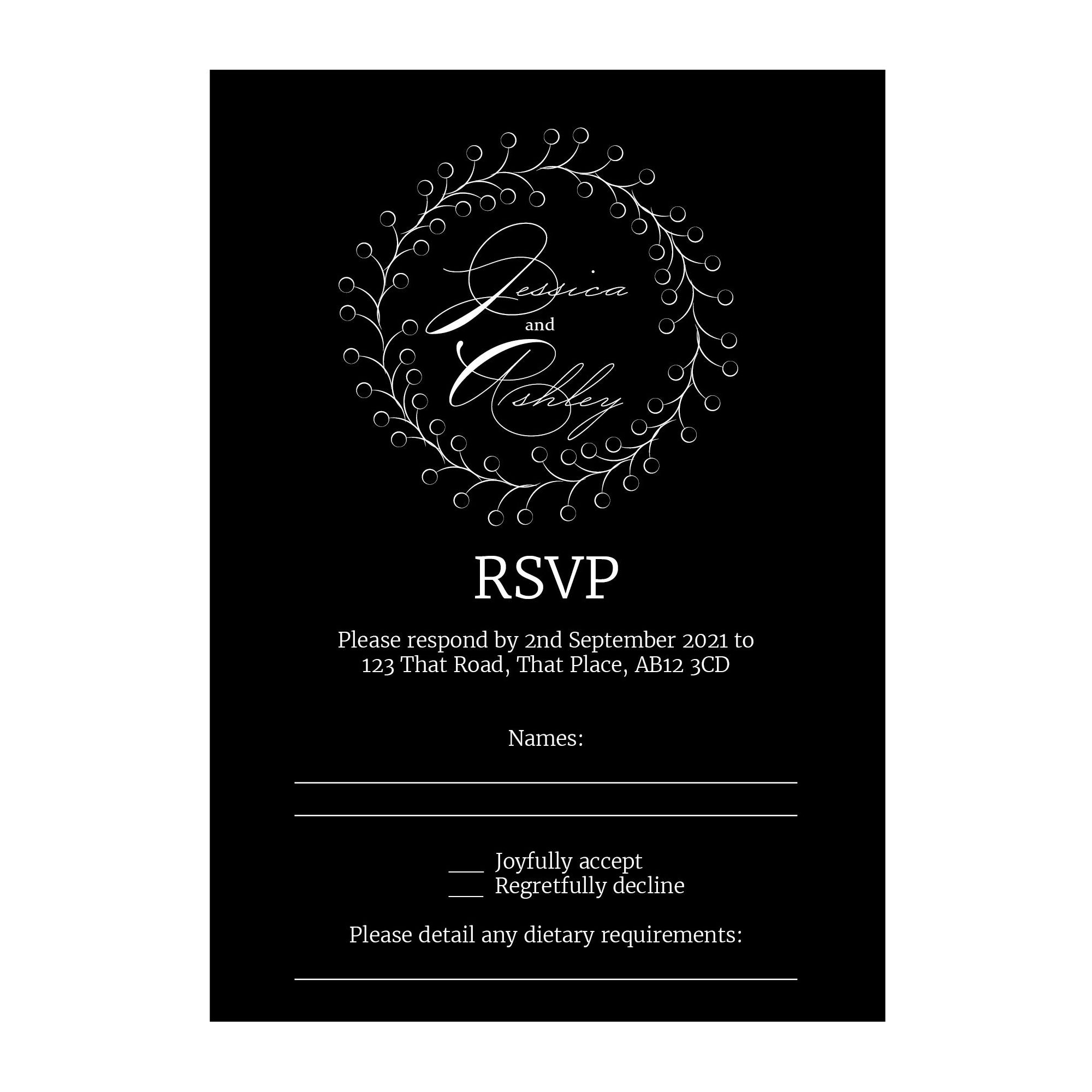 Black with White Ink Rustic Floral RSVP Dietary Requirement Cards