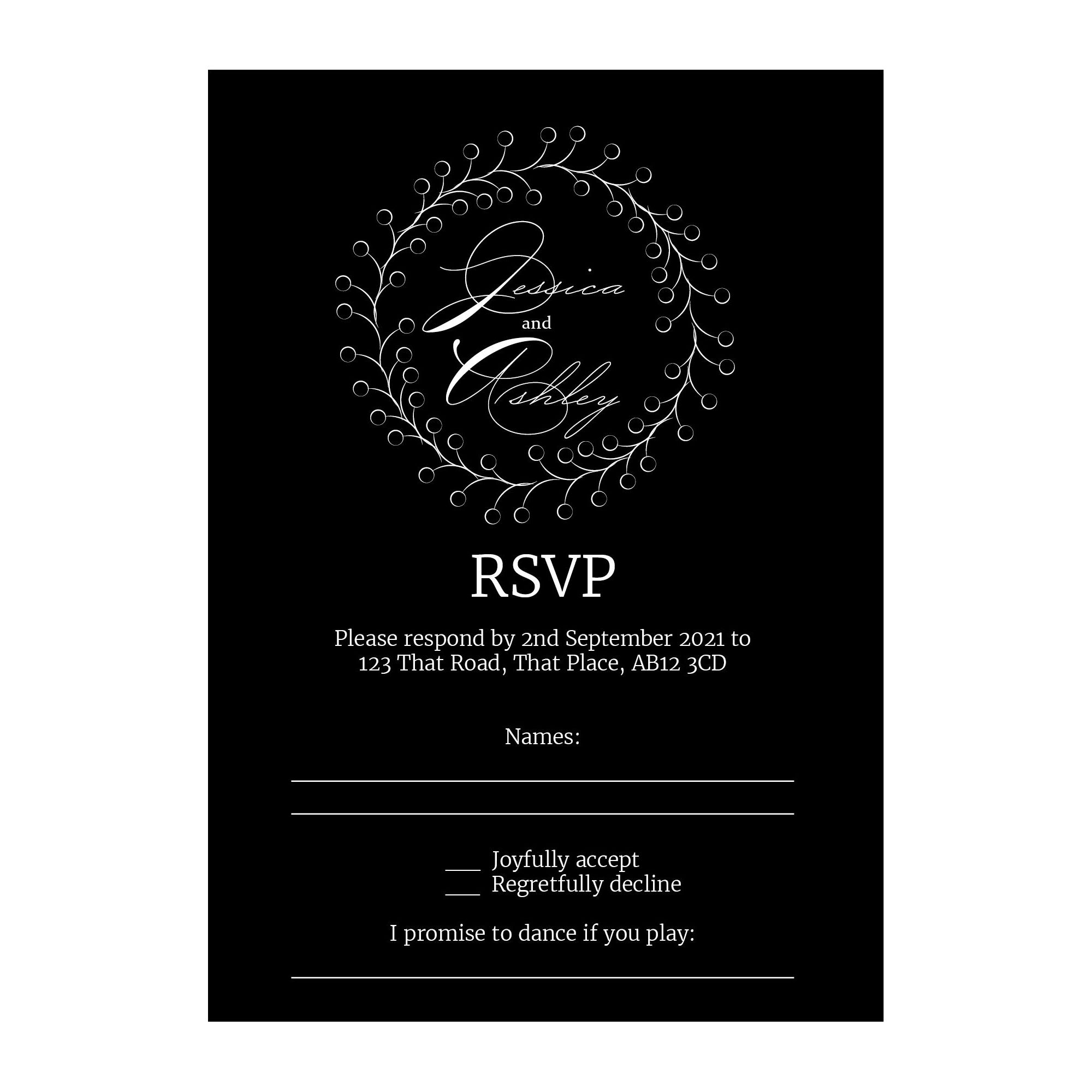 Black with White Ink Rustic Floral RSVP Song Request Cards