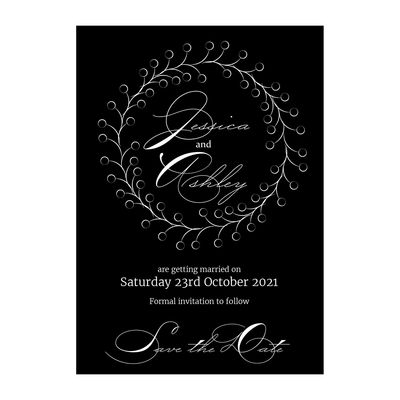 Black with White Ink Rustic Floral Save the Date Cards