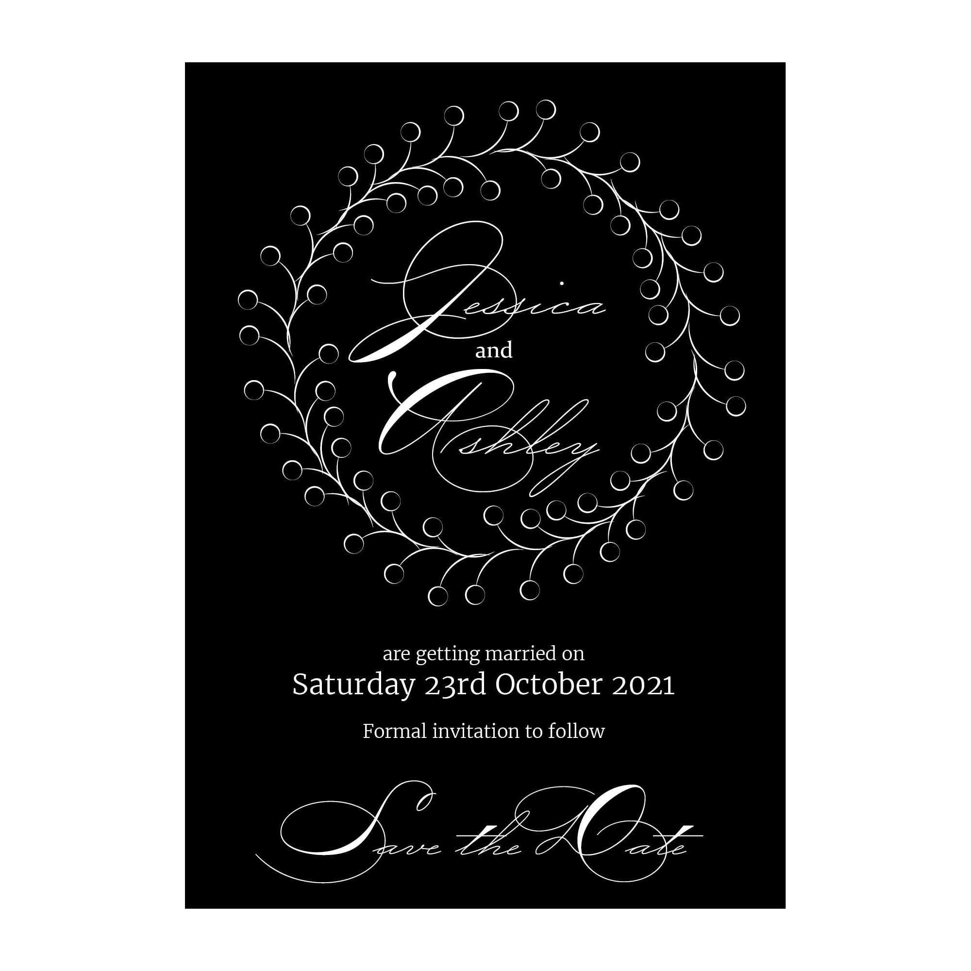Black with White Ink Rustic Floral Save the Evening Cards
