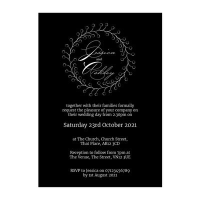 Black with White Ink Rustic Floral Wedding Invitations