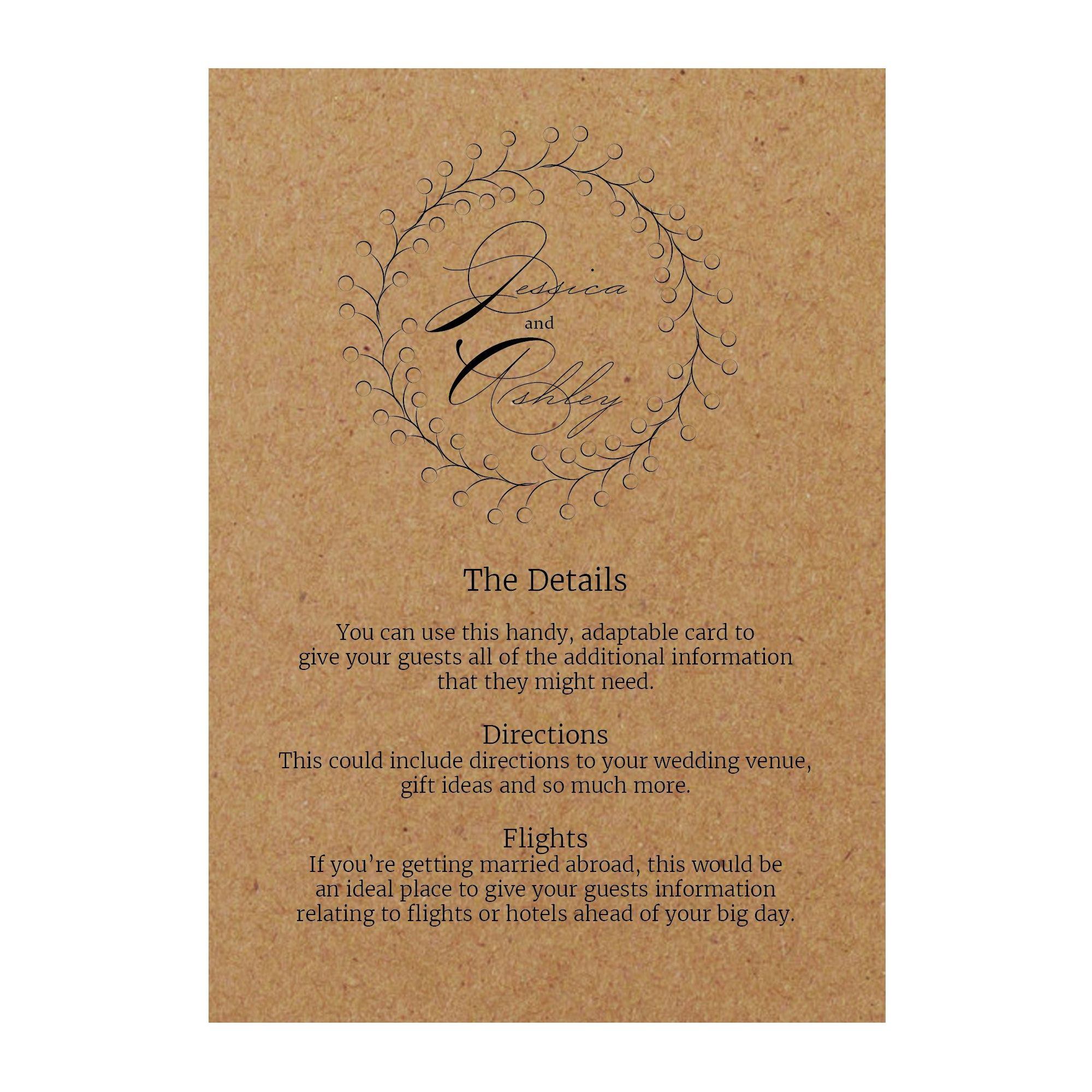 Recycled Brown Kraft Rustic Floral Guest Information Cards