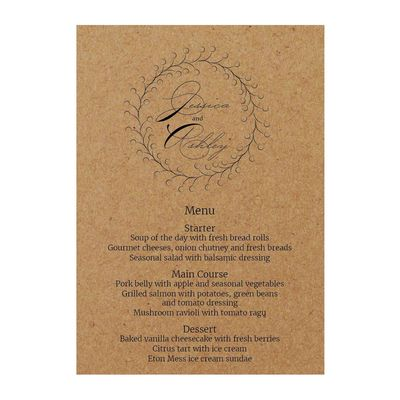 Recycled Brown Kraft Rustic Floral Menu Cards