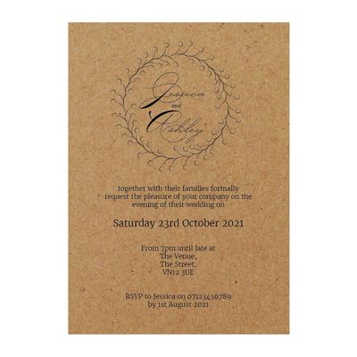Recycled Brown Kraft Rustic Floral Reception Invitations