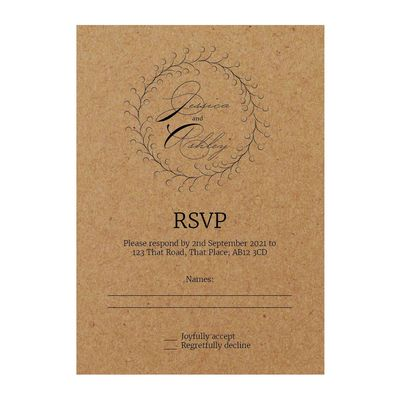 Recycled Brown Kraft Rustic Floral RSVP Cards