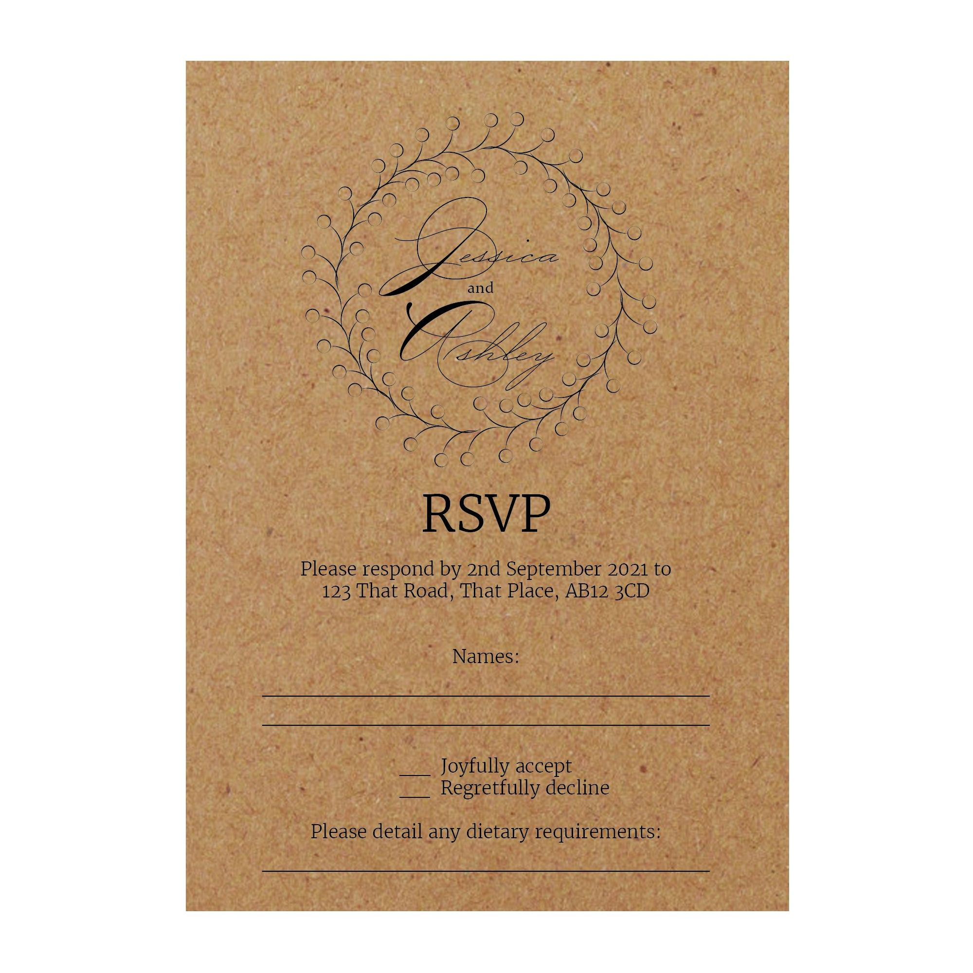 Recycled Brown Kraft Rustic Floral RSVP Dietary Requirement Cards