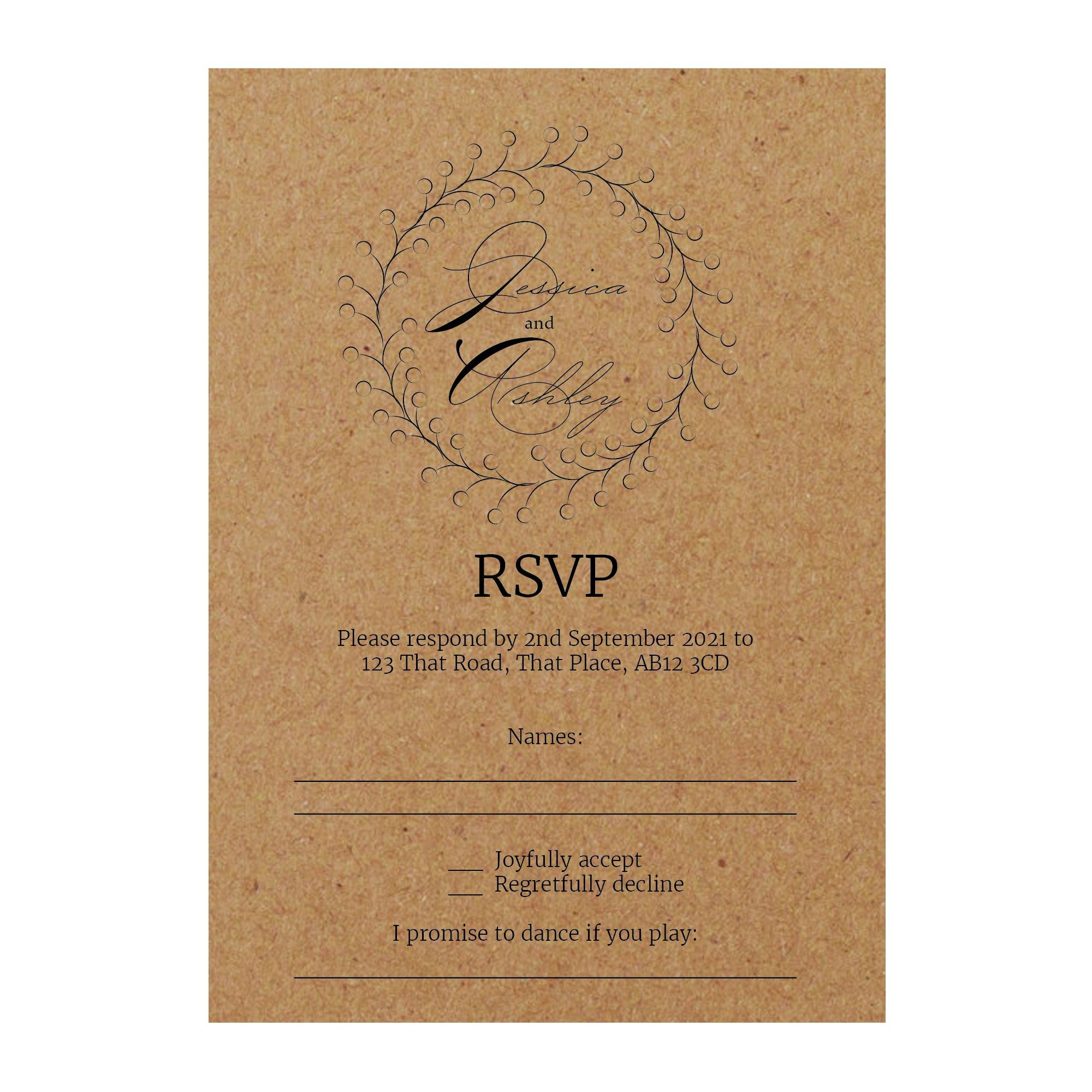 Recycled Brown Kraft Rustic Floral RSVP Song Request Cards