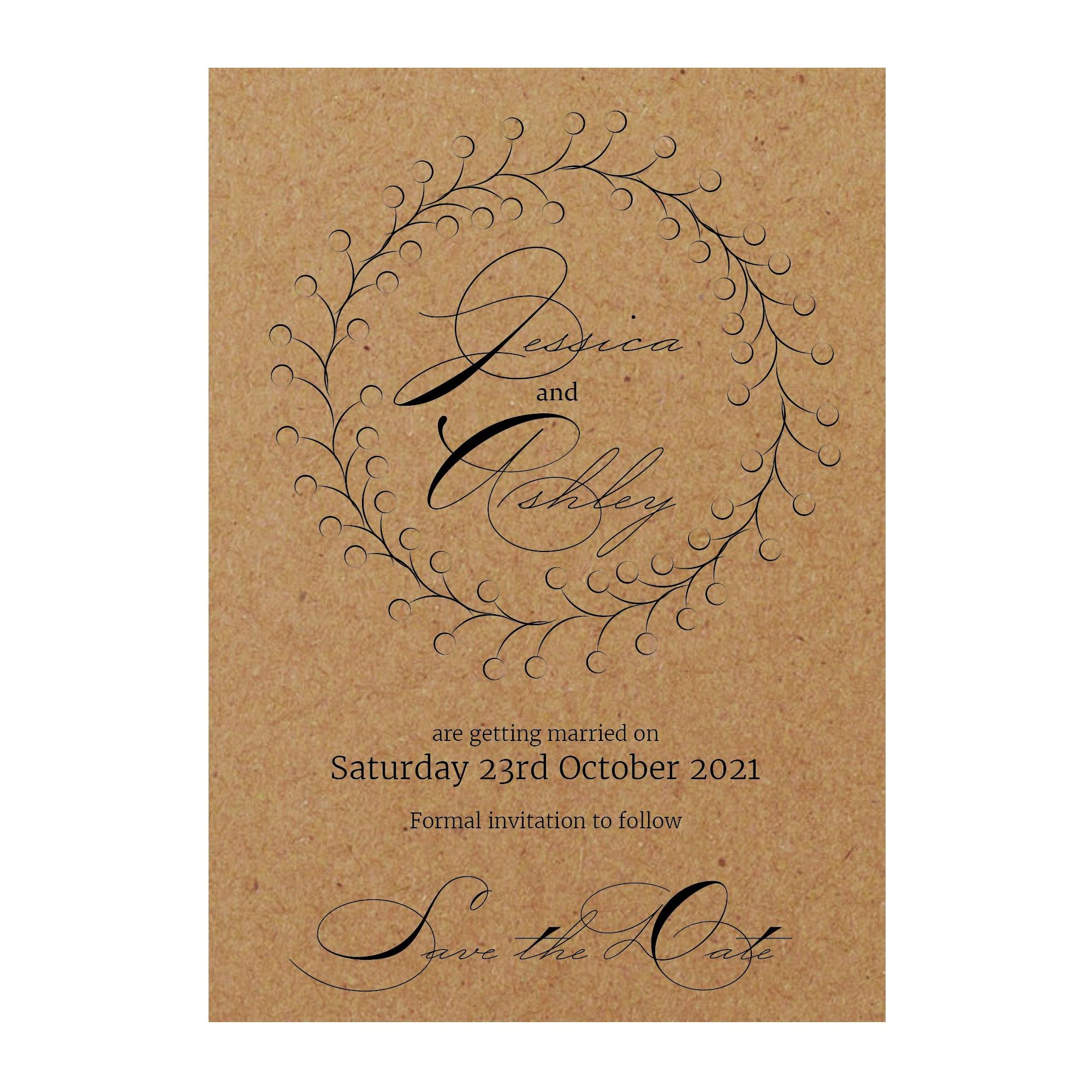 Recycled Brown Kraft Rustic Floral Save the Date Cards