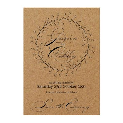 Recycled Brown Kraft Rustic Floral Save the Evening Cards