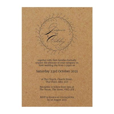 Recycled Brown Kraft Rustic Floral Wedding Invitations