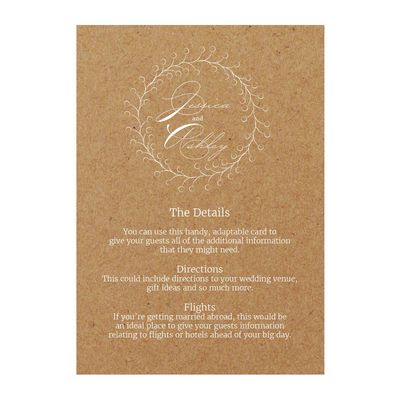 Recycled Brown Kraft with White Ink Rustic Floral Guest Information Cards
