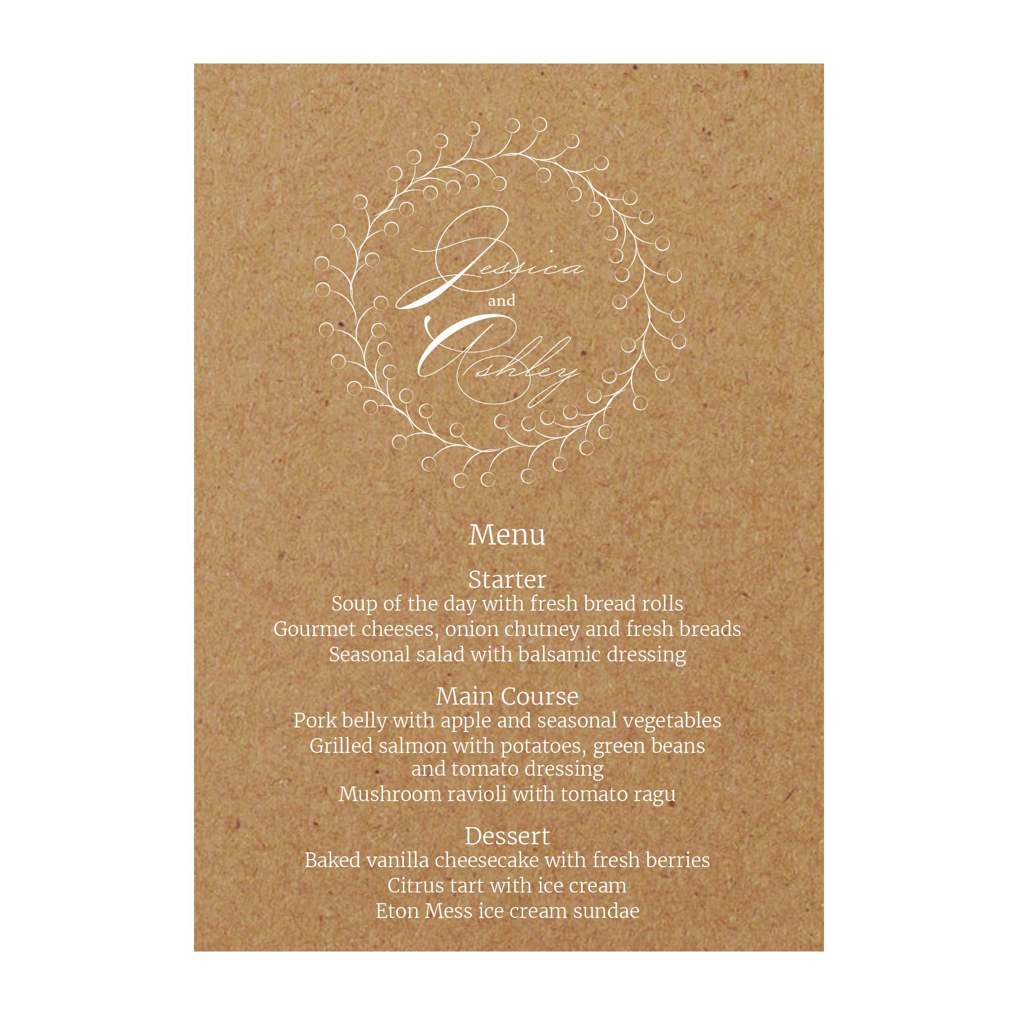 Recycled Brown Kraft with White Ink Rustic Floral Menu Cards
