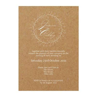 Recycled Brown Kraft with White Ink Rustic Floral Reception Invitations