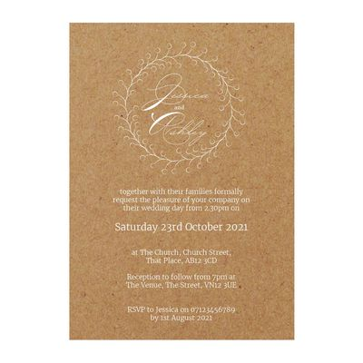 Recycled Brown Kraft with White Ink Rustic Floral Wedding Invitations
