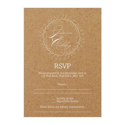 Recycled Brown Kraft with White Ink Rustic Floral RSVP Dietary Requirement Cards