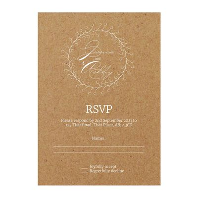 Recycled Brown Kraft with White Ink Rustic Floral RSVP Cards