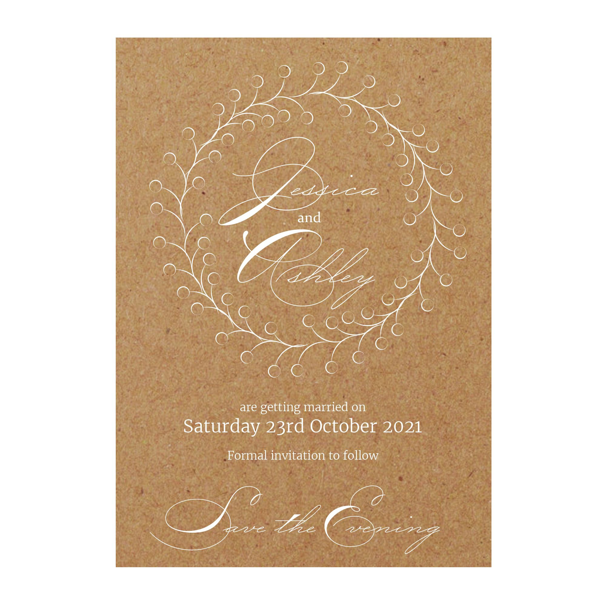 Recycled Brown Kraft with White Ink Rustic Floral Save the Evening Cards