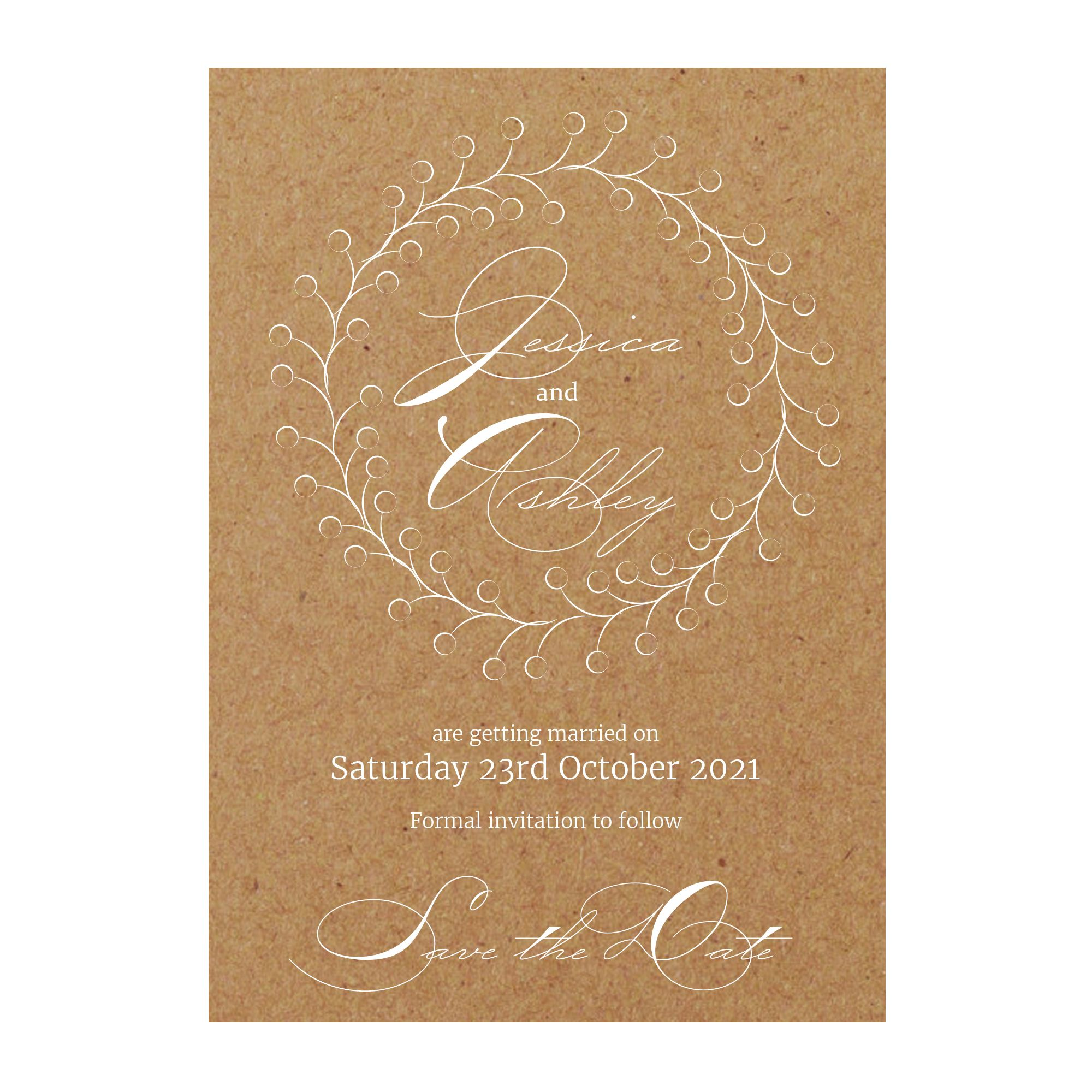 Recycled Brown Kraft with White Ink Rustic Floral Save the Date Cards