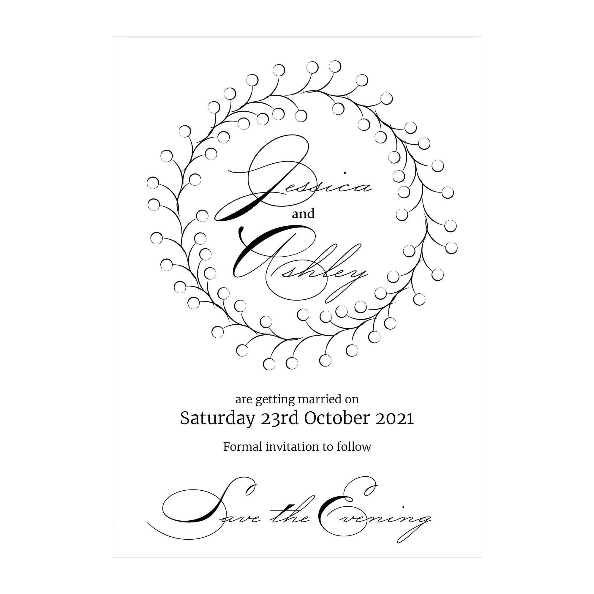 Textured White Rustic Floral Save the Evening Cards