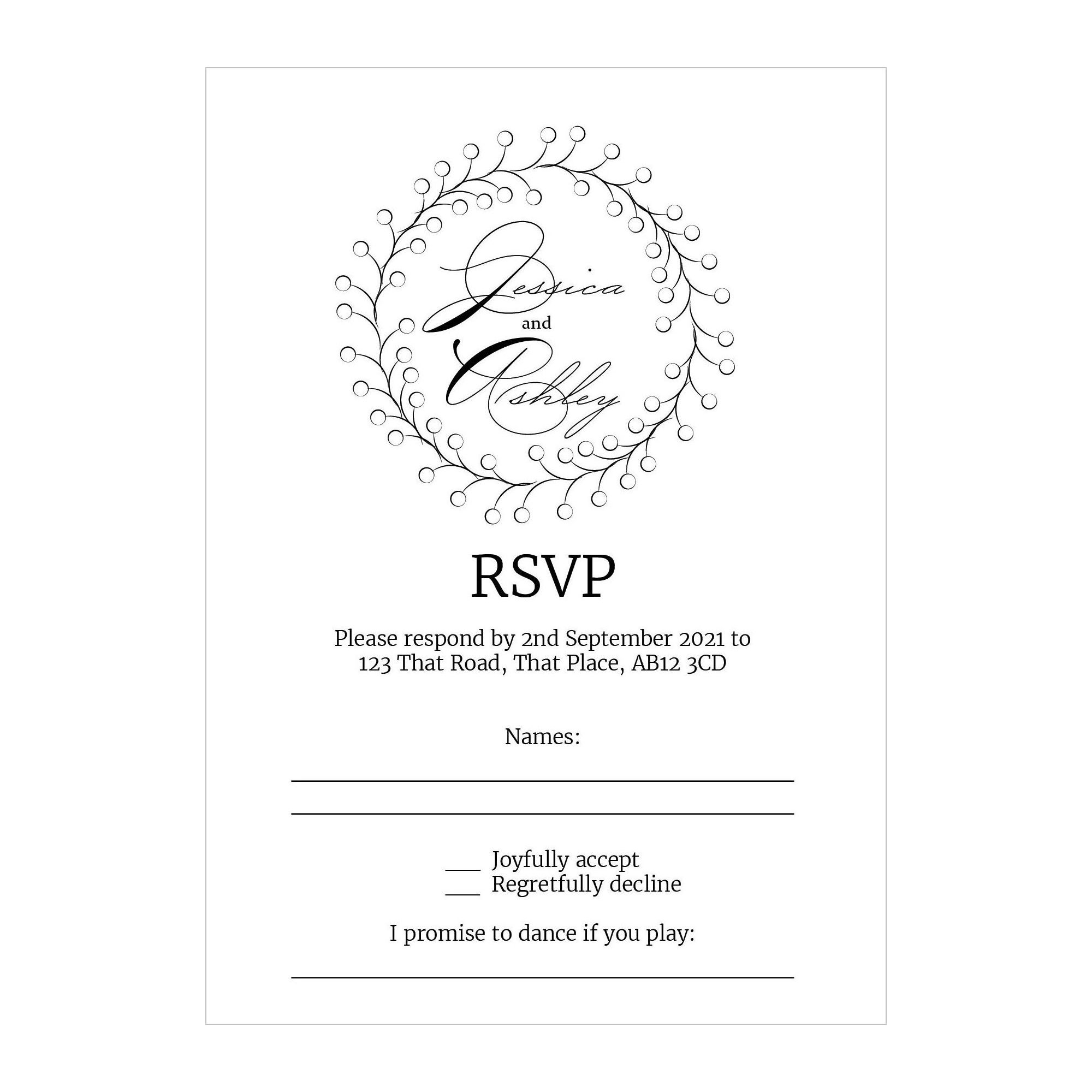 Recycled White Rustic Floral RSVP Song Request Cards