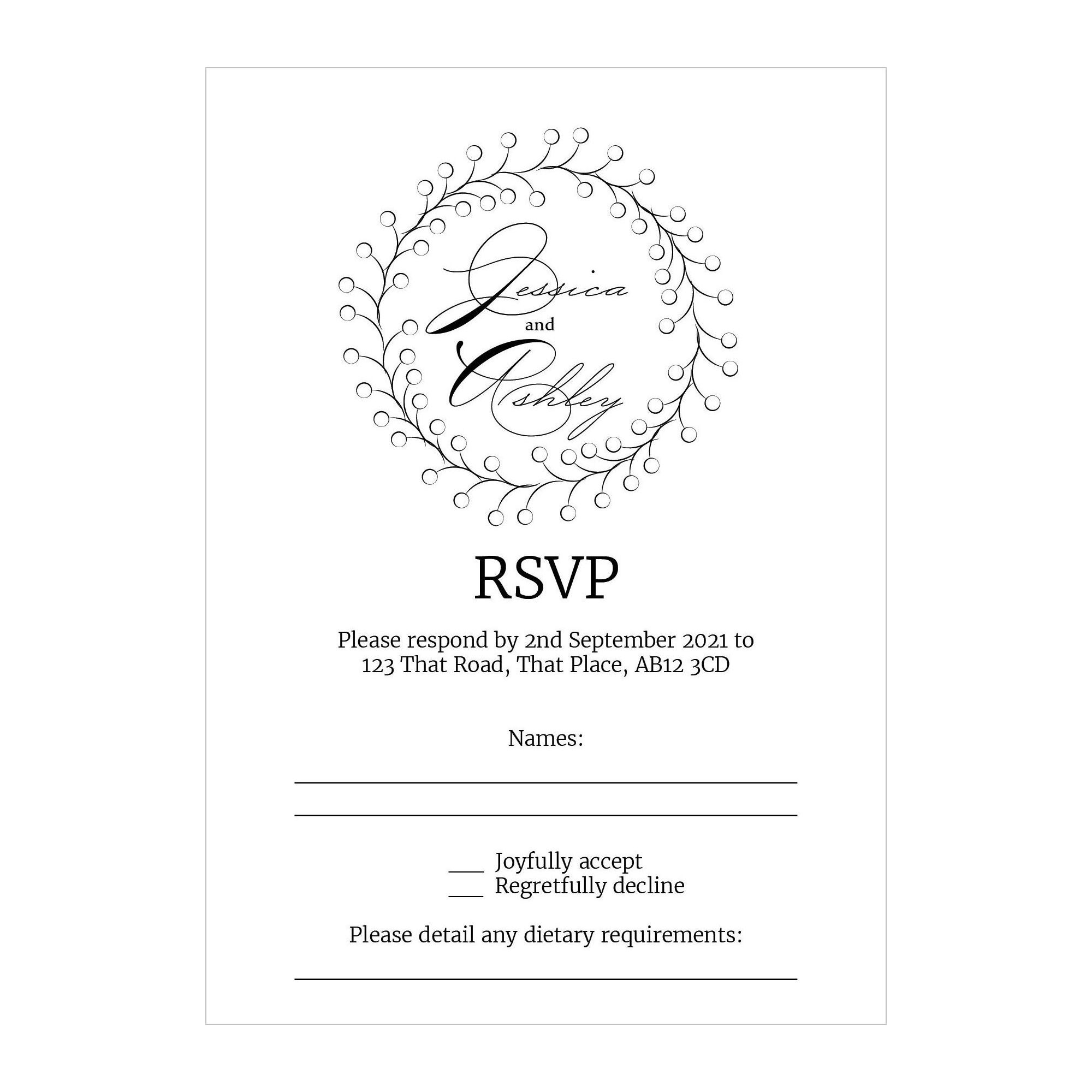 Textured White Rustic Floral RSVP Dietary Requirement Cards