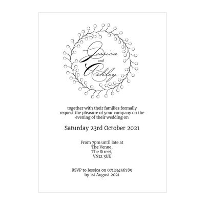 Textured White Rustic Floral Reception Invitations