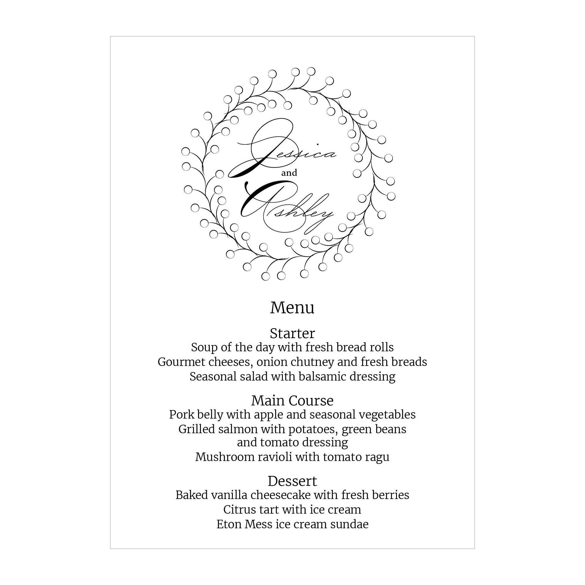 Textured White Rustic Floral Menu Cards