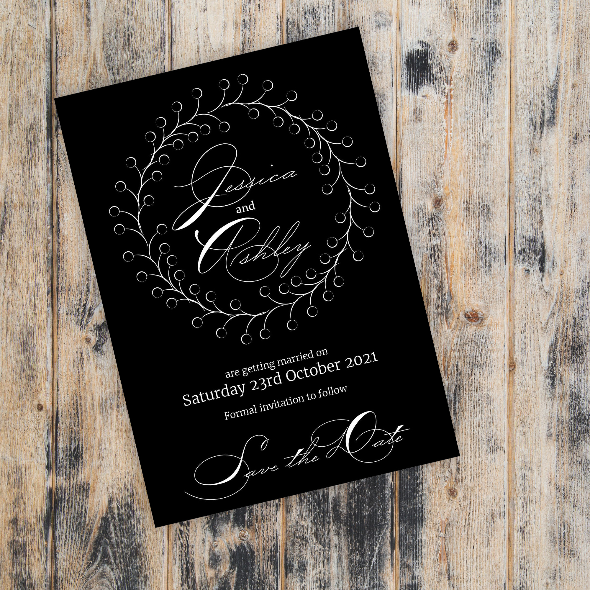 Black with White Ink Rustic Floral