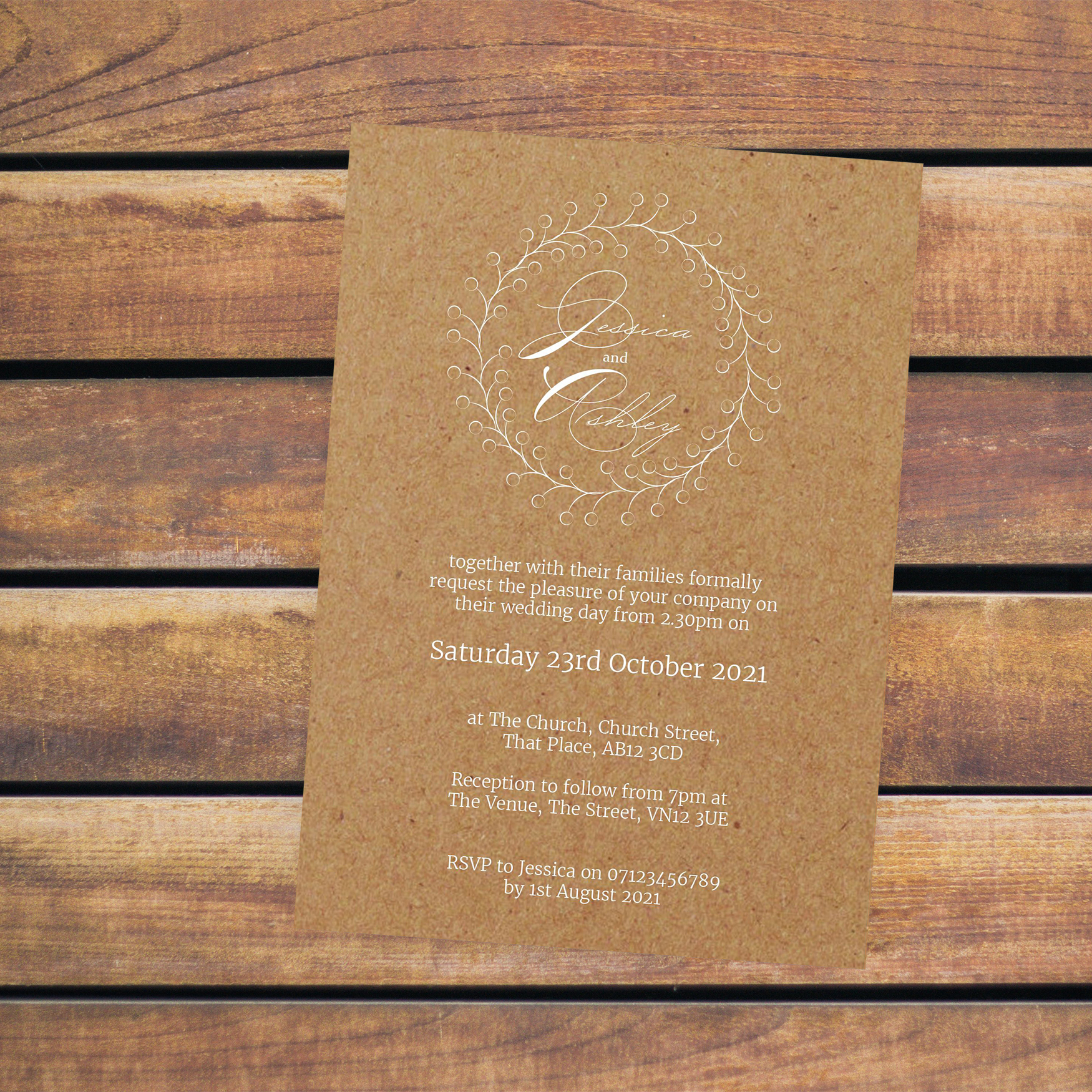 Brown Kraft with White Ink Rustic Floral