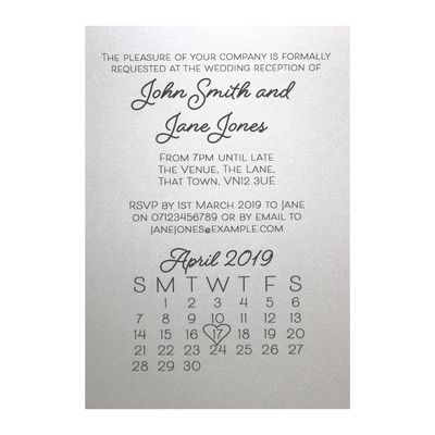 Glitter Arctic White Calendar Reception Invitations