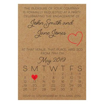 Recycled Brown Kraft Cute Calendar Engagement Invitations