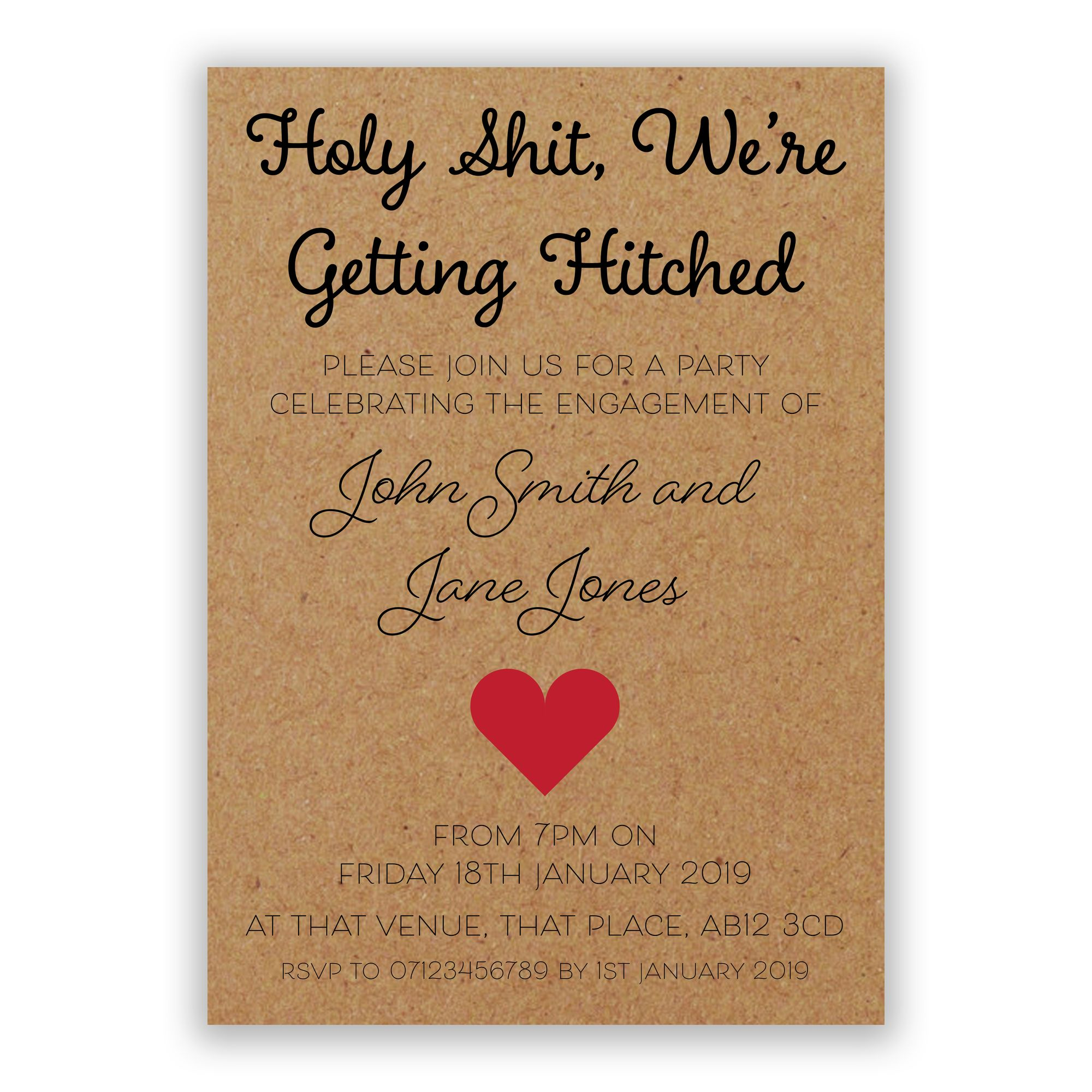 Recycled Brown Kraft Holy Shit, We're Getting Hitched Engagement Invitations