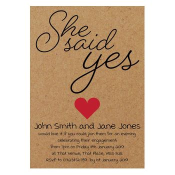 Recycled Brown Kraft She Said Yes Engagement Invitations