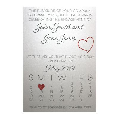 Glitter Arctic White Cute Calendar Engagement Invitations