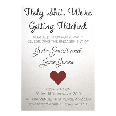 Glitter Arctic White Holy Shit, We're Getting Hitched Engagement Invitations