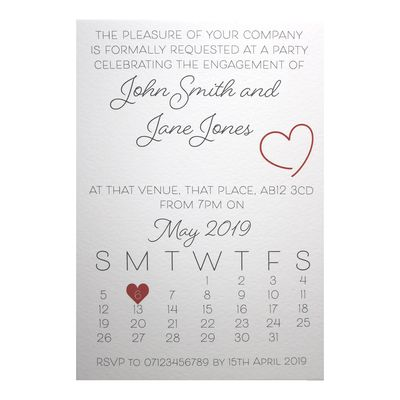 Textured White Cute Calendar Engagement Invitations