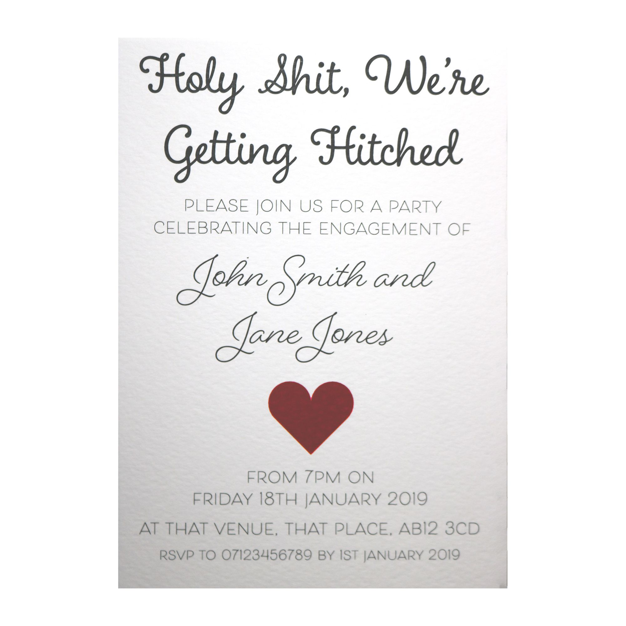 Textured White Holy Shit, We're Getting Hitched Engagement Invitations