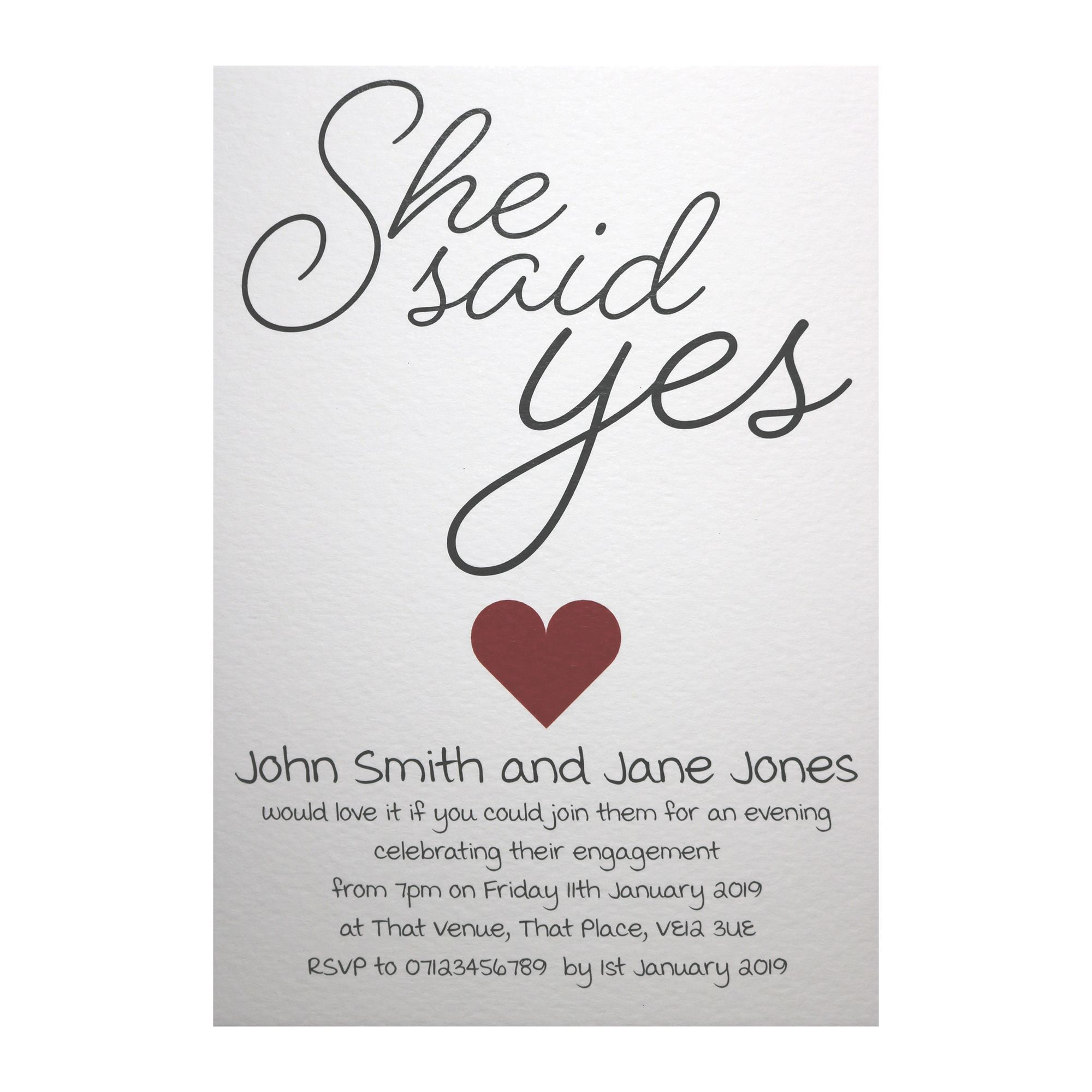 Textured White She Said Yes Engagement Invitations