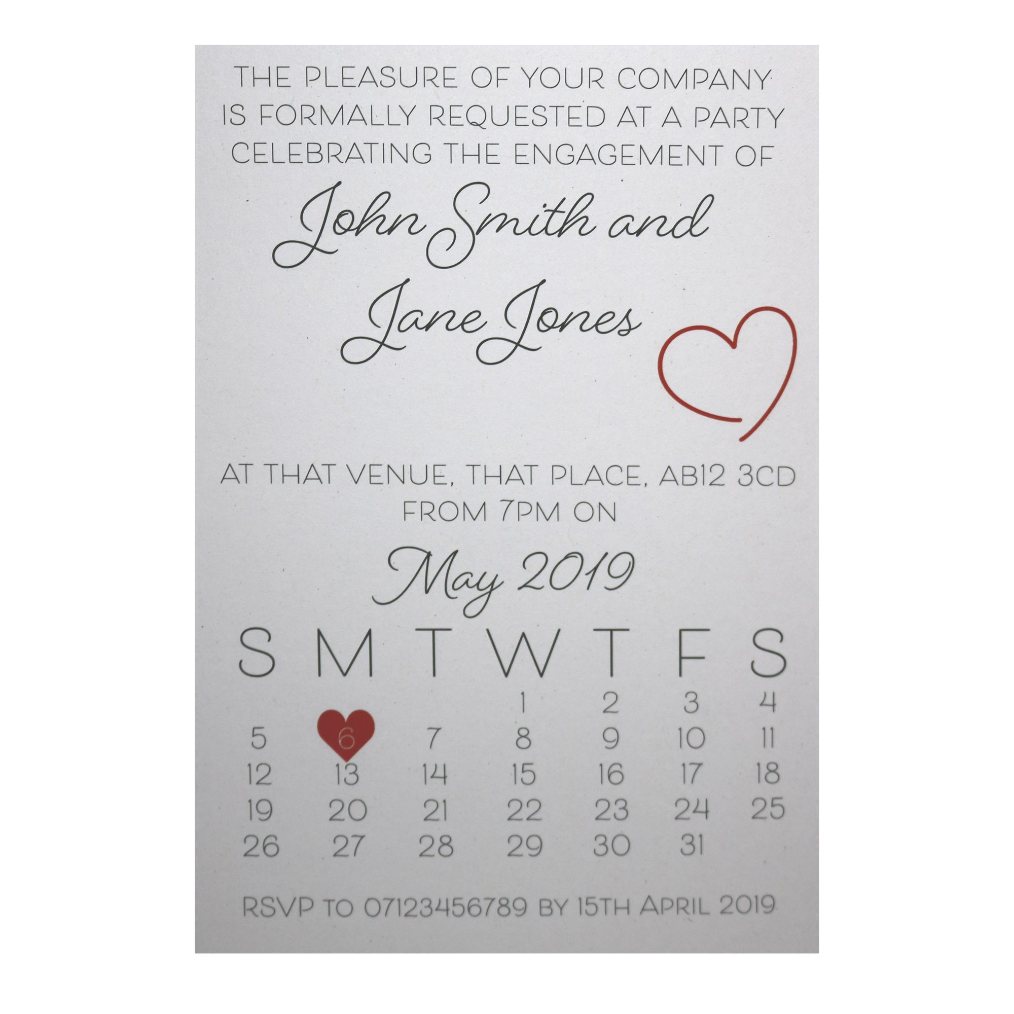 Recycled White Cute Calendar Engagement Invitations