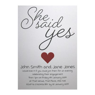 Recycled White She Said Yes Engagement Invitations