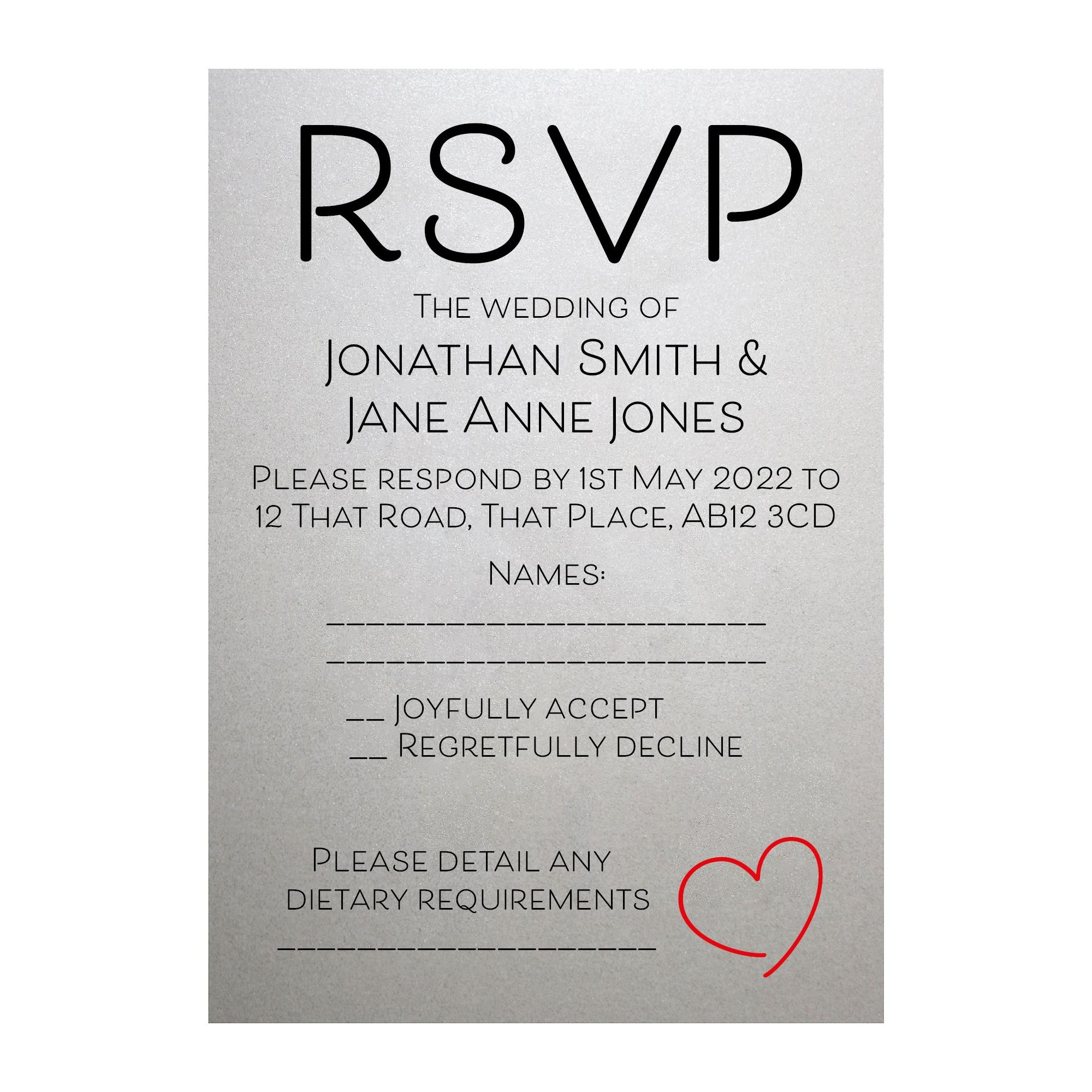 Shimmer Arctic White Cute Heart RSVP Dietary Requirement Cards