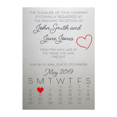 Shimmer Arctic White Cute Heart Reception Invitations
