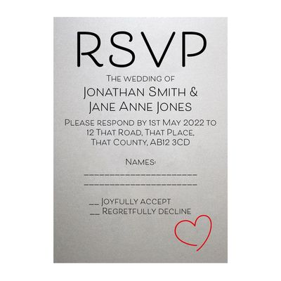 Shimmer Arctic White Cute Heart RSVP Cards