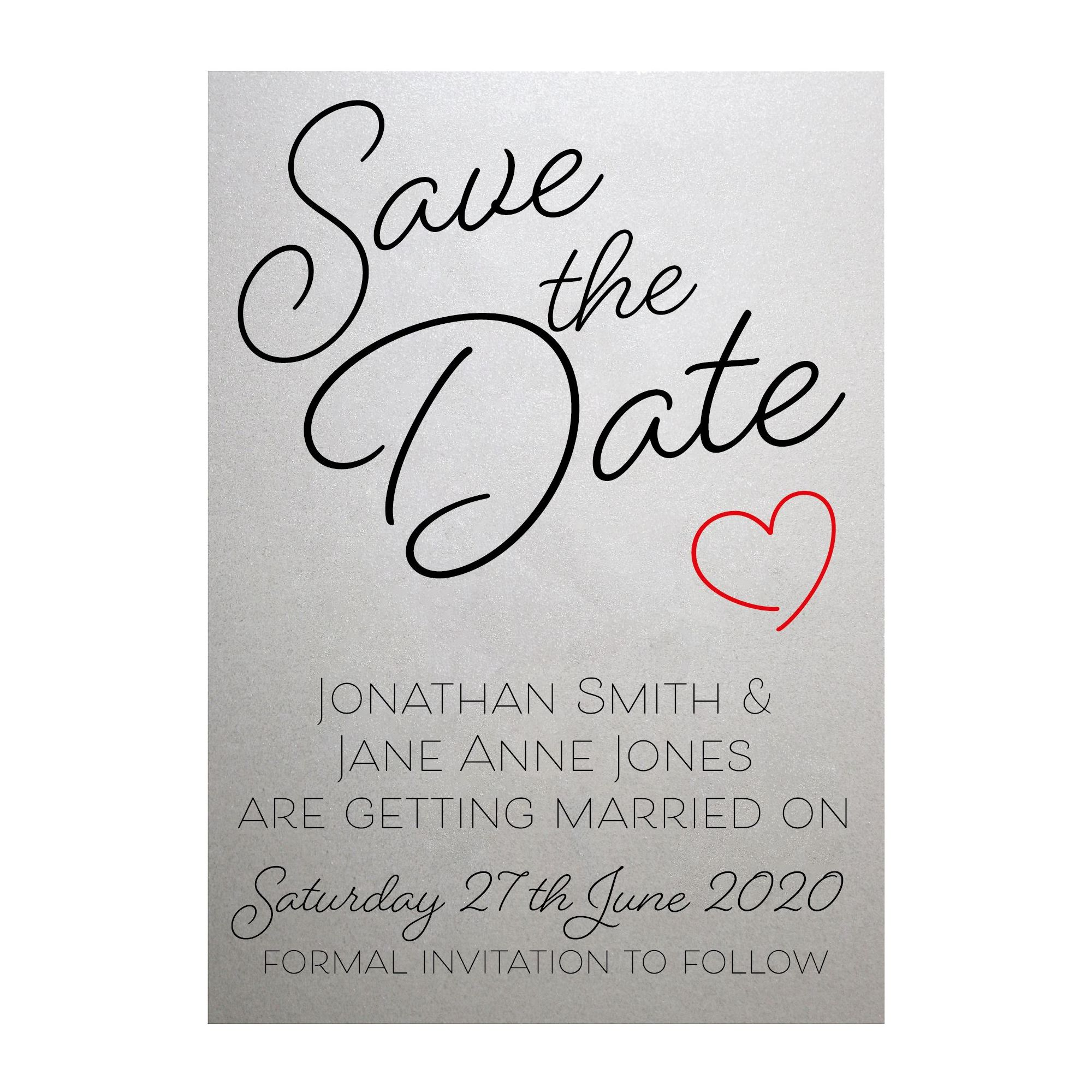 Shimmer Arctic White Cute Heart Save the Date Cards