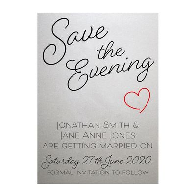 Shimmer Arctic White Cute Heart Save the Evening Cards