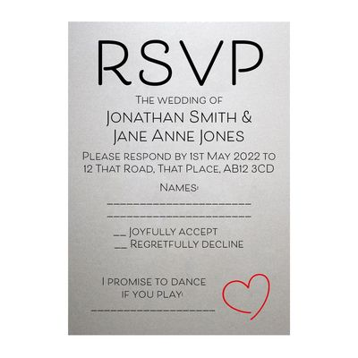 Shimmer Arctic White Cute Heart RSVP Song Request Cards